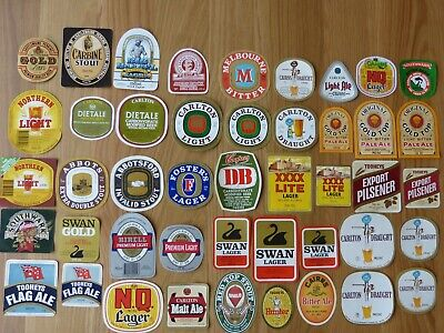 45 Beer Labels 1970/80's some rare inc NQ, Ayers Rock, Gold Top