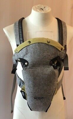 c64ed963e07 Scout by PPB Petunia Pickle Bottom Baby Carrier Gray Felt Sturdy Lime Green  EUC