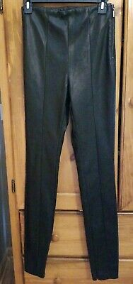 5293cdf95aea48 NWT TOPSHOP TALL Women's Faux Leather Slim Pants Black Size 6 US. 10 UK Side