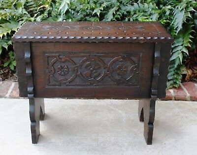 PETITE Antique English Oak Foot Stool Bench Box Table Arts & Crafts Lift Top