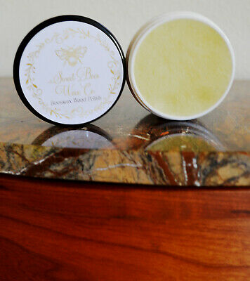 All Natural Beeswax Clear Honey Almond Scented Furniture Wax 4oz Protects Wood