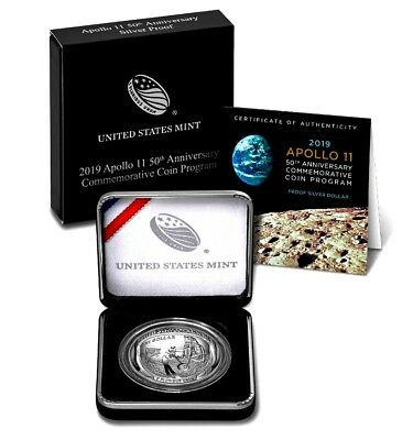*APOLLO 11* 50th Anniversary! 99.9% SILVER PROOF $1 *2019-P + US MINT CS + COA