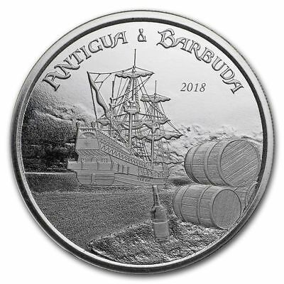 1 once argent BU 2$ eastern caribbean 2018 ANTIGUA BARBUDA commerce rhum P2