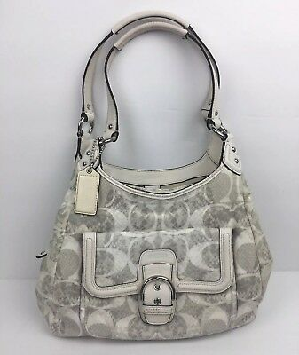 bb35c71957 Coach Signature Jacquard Snake Print Hobo Shoulder Bag Purse Spacious 27894