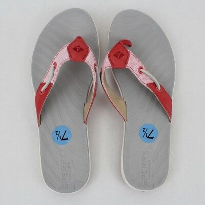 c4dc62b3e1 Sperry Top-Sider Pink Leather Thong Flip Flop Sandals Women s Size 7.5 NWOB