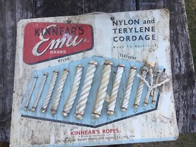 Vintage Kinnears Emu Brand Nylon Rope Cardboard Advertising