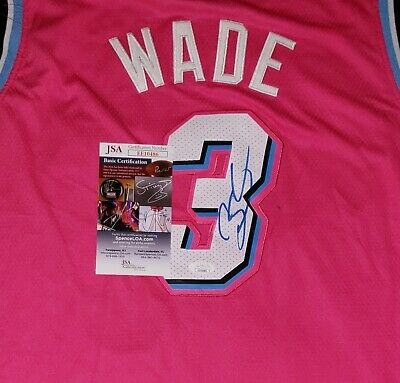 Dwyane Wade Signed Miami Vice Pink Jersey Size XL In Person JSA CERTIFIED