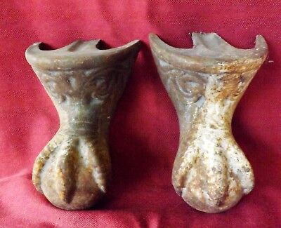 "Pair Original Antique Cast Iron Ornate 6"" Eagle Claw & Ball Bath Tub Feet"