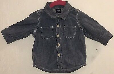 Baby Gap Baby Boy's Sz 3-6M Shirt Denim Blue Gray Lining Front Buttons Pockets