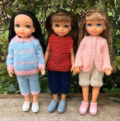 3 Charming Dolls 4 Ever Friends Hand Knitted Outfits & Shoes Little Girls