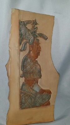 Pre Columbian artifacts high end older reproduction  Mayan plaster on stone Maya