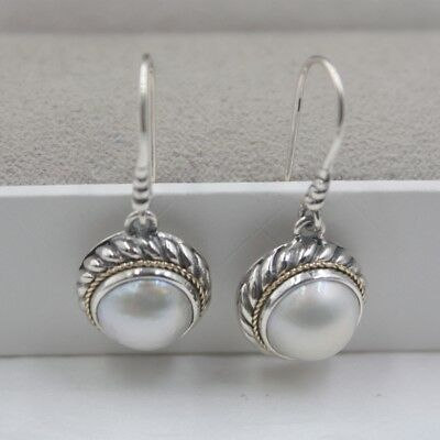 EW50S NEW TT Silver Stainless Steel Round Mother Pearl Dangle Earrings