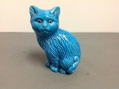 Antique Asian Blue Porcelain Cat Statue