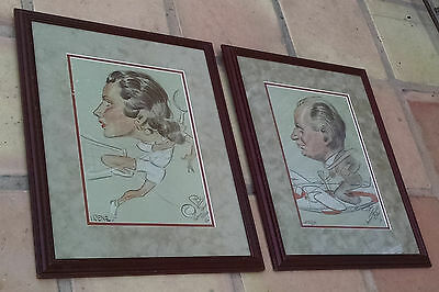 Pair of Mid Century Caricatures Signed Pol at Miami Springs Villas, Irene&Windy