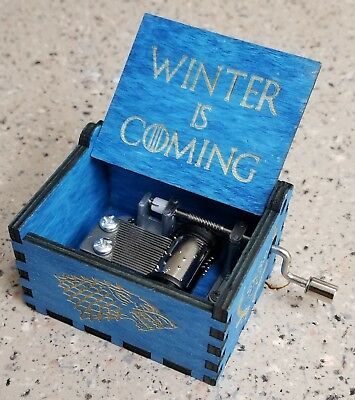 Game of Thrones Engraved Hand-Cranked Wooden Music Box  Winter is coming Gift