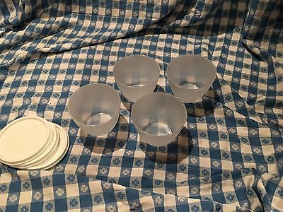 Tupperware ~ Set Of 4 ~ 14 Oz Refrigerator Bowls ~ Clear Bowl/ White Seal ~ New