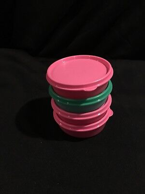 Tupperware Little Wonders Bowls Set of 4 -3pink,1green New 6 oz