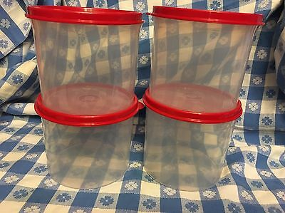 TUPPERWARE New 4-PC  MINI CANISTER SET Clear 2 Cups WITH RED SEAL