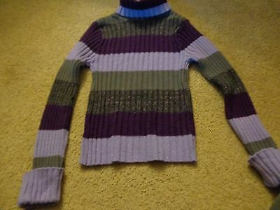 Girls ,LONG SLEEVED TURTLE N,TOP SHIRT BLOUSE PURPLE/ GREY STRIPED  Size SMALL