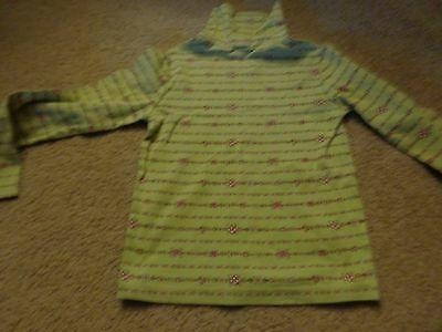 Girls GYMBOREE,LONG SLEEVED TURTLE N,TOP SHIRT BLOUSE GREEN W FLOWERS  Size 8
