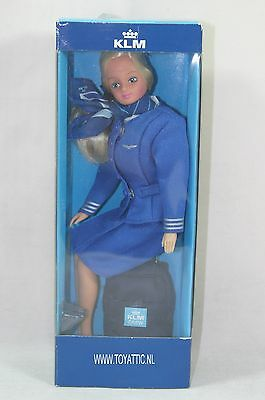 Barbie sized doll in blue KLM stewardess outfit New in box!