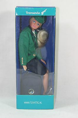 Barbie sized doll in green Transavia stewardess outfit New in box!
