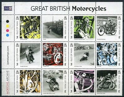 2018 Isle of Man, Great British Motorcycles, 12 stamps, MNH