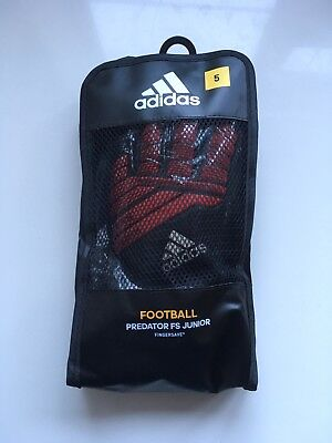 Adidas Predator Fingersave FS Junior GoalKeeper Gloves Size 5 Black & Red