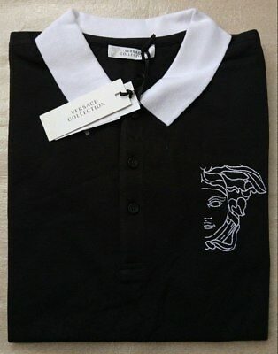 b5785081 Versace Collection Medusa head embroidered logo men's black polo shirt size  XL