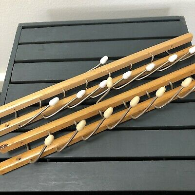 Reguitti Brevetti Mid Century Vintage Folding Tie Rack Holder Wooden Italy