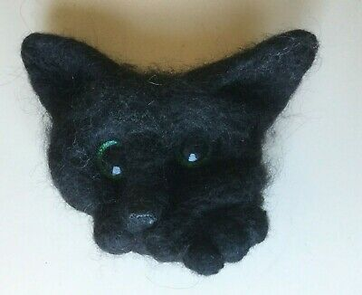 HANDMADE black cat felted BROOCH. For birthday, mother's day gift