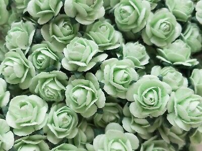 100! Cute Handmade Mulberry Paper Roses - 10mm: Pastel Green Rose Embellishments