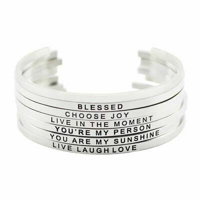 Women 316L Stainless Steel Engraved Cuff Bracelets Inspirational Positive Quote