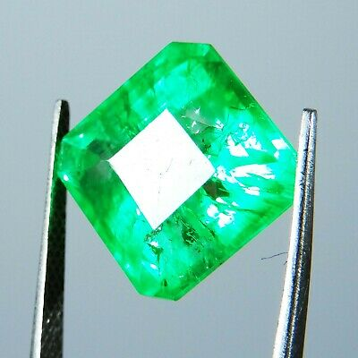 8.45 Ct.Natural Certified Colombian Radiant Green Emerald Loose Gemstone A-3426