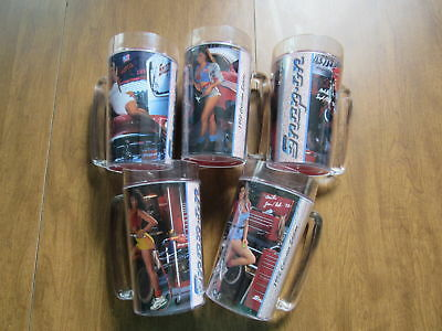 Vintage 1992 Snap On Toolmates Clear Acrylic Cold Drink Mugs Set Of 5