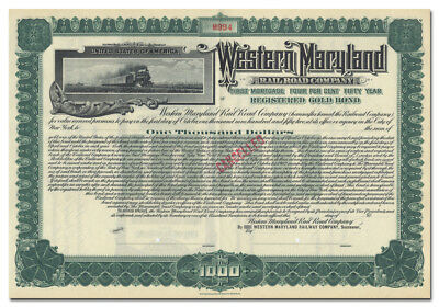 Western Maryland Railroad Company Bond Certificate