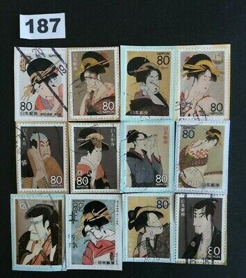 Japan Commemorative Old Japanese Picture Lot of Used Stamps On Paper Lot. 187