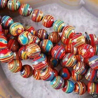 6~8~10mm Natural Red Stripe Agate Onyx Gems Round Loose Beads 15""