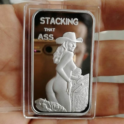 Sexy, Naked Big Ass Cowgirl, 1 Troy oz .999 Fine Silver Bullion Proof Bar. New!