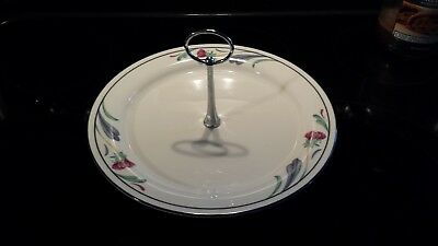 "10 3/4"" LENOX Chinastone Serving Plate Tray with handle~POPPIES ON BLUE~USA"