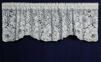 """White Cotton Blend Ainsley 61"""" x 19"""" Lace Window Valance Livingroom Bedroom"""