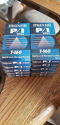 Maxell VHS PI Plus T-160 Plus  213011 LOT OF 10 TAPES. New Sealed.
