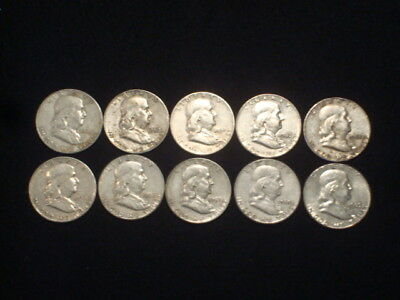 Franklin Half Dollars Lot Of 10 Coins 90% Silver - $5 Face Value  L3