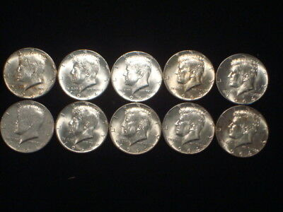 1964 Kennedy Half Dollars Lot Of 10 Coins $5 Face  90% Silver  Kl2