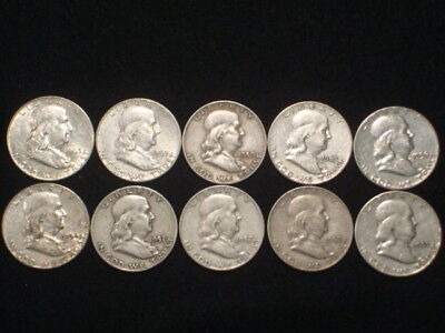 Franklin Half Dollars Lot Of 10 Coins 90% Silver - $5 Face Value  L4