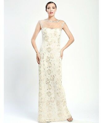 d9813c784fd New Sue Wong Ivory Illusion Neck Beaded Embroidered Evening Gown Dress Sz 2