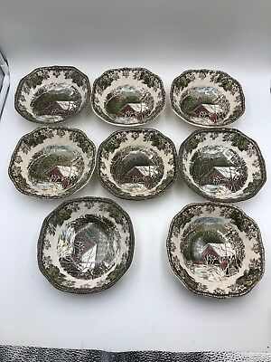 Johnson Brothers-The Friendly Village-8 Covered Bridge Square Soup Cereal Bowls