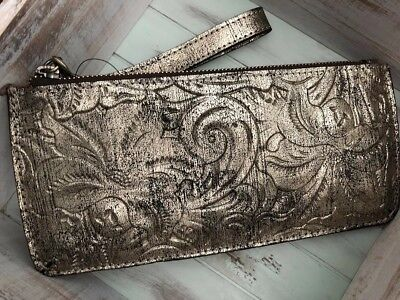Patricia Nash St Croce Wristlet Soft Gold Metallic NWT tooled $69 wallet
