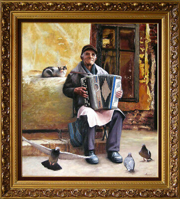 """Oil Painting PRINTED on CANVAS Arseni ~ ACCORDION PLAYER 8,7"""" X 8"""" Impressionism"""