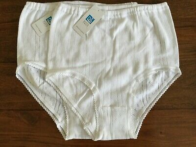 2 Pairs White Swan Briefs  Knickers  Cotton New  M 12 - 14